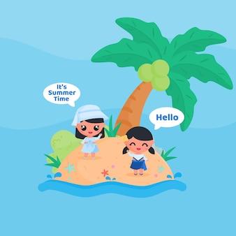 Schattig klein meisje karakter groet zomertijd op het strand in de zomer platte ontwerp cartoon stijl vector