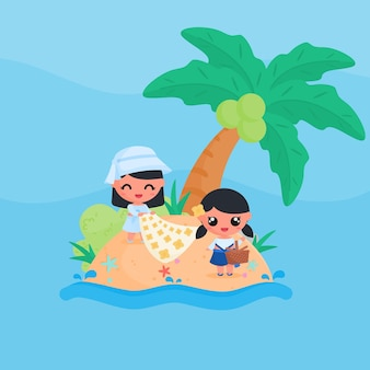 Schattig klein meisje karakter picknick op het strand in de zomer platte ontwerp cartoon stijl vector