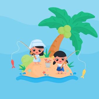 Schattig klein meisje karakter vissen op het strand in de zomer platte ontwerp cartoon stijl vector