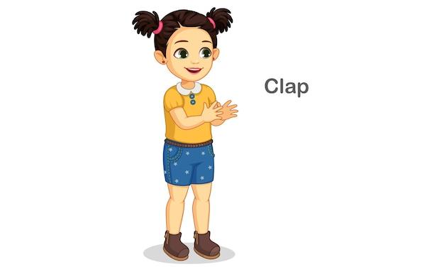 Schattig klein meisje klappen weergegeven: klappen actie illustratie