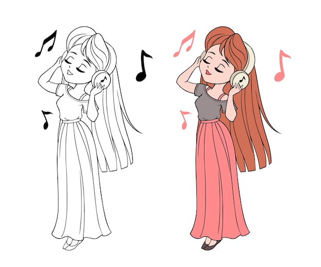 Schattig klein meisje luistert naar muziek en ontspant. handgetekende contourlijn voor kleurboek, kleurplaat.