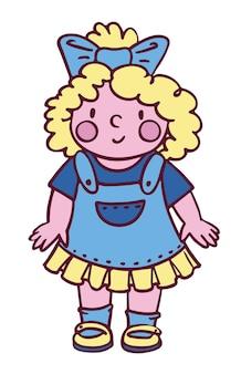 Schattig klein meisje met blauwe strik. kleurrijke platte vectorillustratie geïsoleerd op een witte achtergrond. perfect voor kaart, print, poster en ander kinderachtig design.