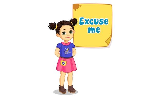 Schattig klein meisje met bord van excuse me tekst illustratie