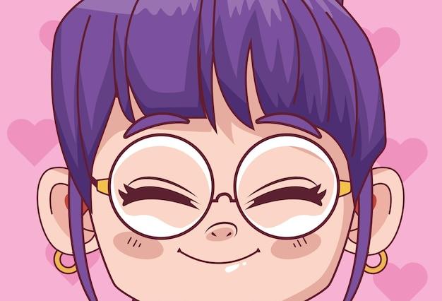 Schattig klein meisje met bril komische manga karakter illustratie