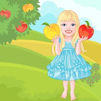 Schattig klein meisje met de appels lacht