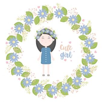 Schattig klein meisje met florale kroon karakter