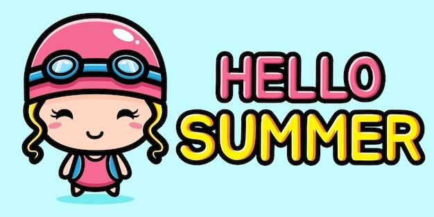 Schattig klein meisje met zomer groet banner