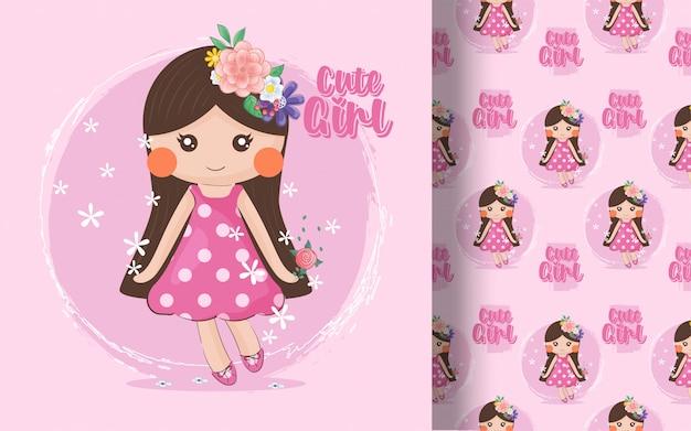 Schattig klein meisje naadloze patroon. illustratie voor kinderen