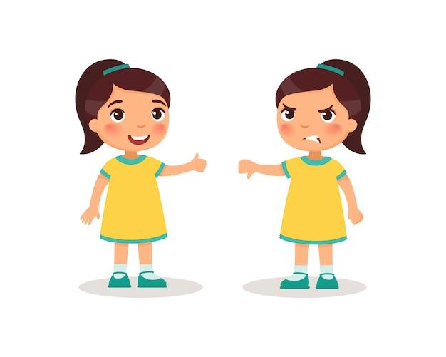 Schattig klein meisje toont duim omhoog en duim omlaag. kinderen stripfiguren.