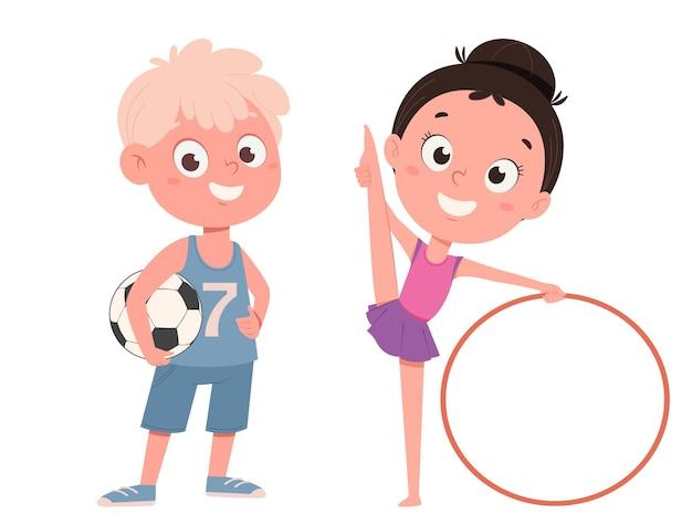 Schattig klein meisje traint met hoelahoep en jongen met voetbal grappige stripfiguren