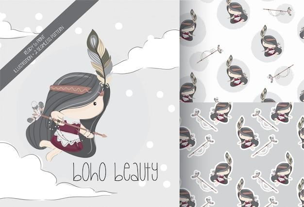 Schattig klein meisje tribal met naadloze patroon