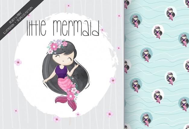 Schattig klein meisje zeemeermin met naadloze patroon