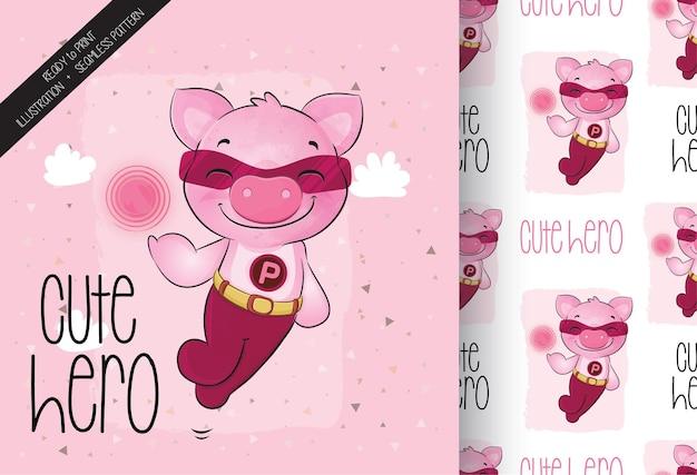 Schattig klein varken superhelden karakter met naadloos patroon