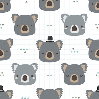 Schattig koala cartoon doodle naadloze patroon voor kind