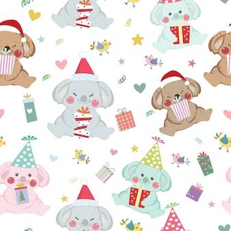 Schattig koala gelukkig nieuwjaar cartoon naadloze patroon.