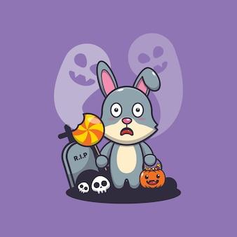 Schattig konijn bang door spook in halloween-dag schattige halloween-cartoonillustratie