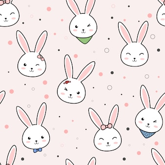 Schattig konijn cartoon doodle naadloze patroon