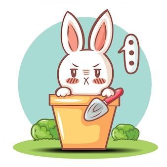 Schattig konijn cartoon karakter vector.