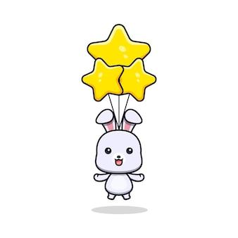 Schattig konijn drijvend met ster ballon dier mascotte karakter