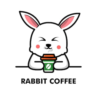Schattig konijn drink koffiekopje cartoon dier logo koffie illustratie
