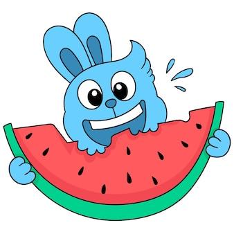 Schattig konijn eet watermeloen, karakter schattig doodle tekenen. vector illustratie