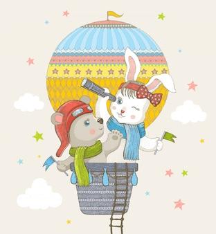 Schattig konijn en beer vliegen in hete luchtballon, doodle cartoon kunst.