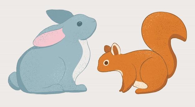 Schattig konijn en eekhoorn