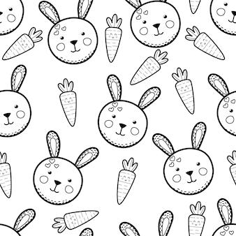 Schattig konijn en wortelen zwart-wit naadloze patroon kleurplaat pagina illustratie