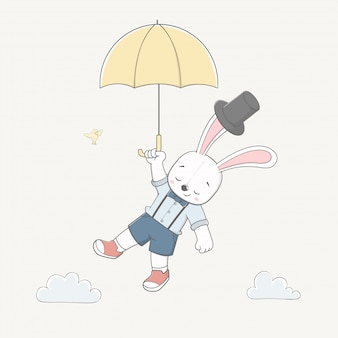 Schattig konijn houdt de paraplu vliegen in de lucht