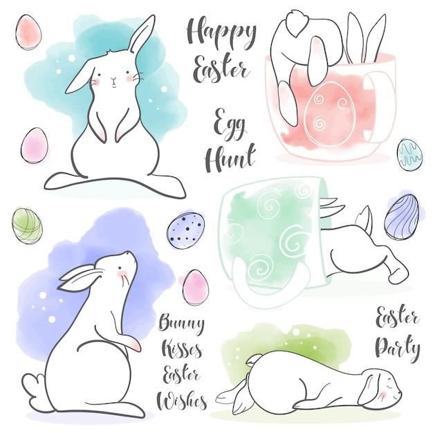Schattig konijn in cartoon-stijl. pasen thema set. handgetekende letters. vector illustratie. elementen voor wenskaart, poster, banners. ontwerp van t-shirt, notitieboekje en sticker