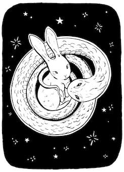 Schattig konijn in de armen van slang. hand getekende grafische afbeelding. afbeelding in schetsstijl. wild leven tekening. retro-stijl vectorillustratie.