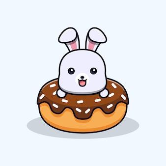 Schattig konijn in donuts dierlijk mascottekarakter