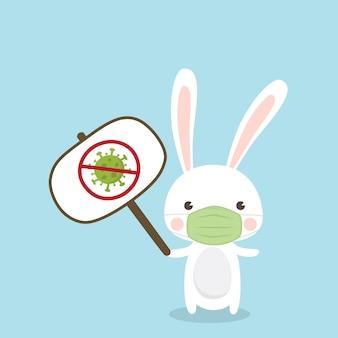 Schattig konijn karakter dragen medische masker op hemelsblauwe achtergrond. coronavirus (covid-19) illustratie.