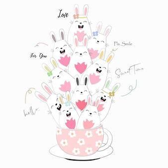 Schattig konijn konijn in koffiekopje cartoon.