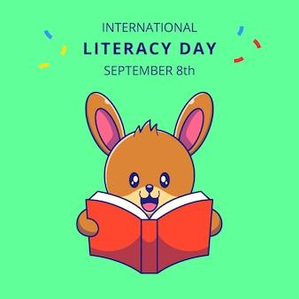 Schattig konijn lezen van een boek cartoon afbeelding. konijn mascotte stripfiguren.