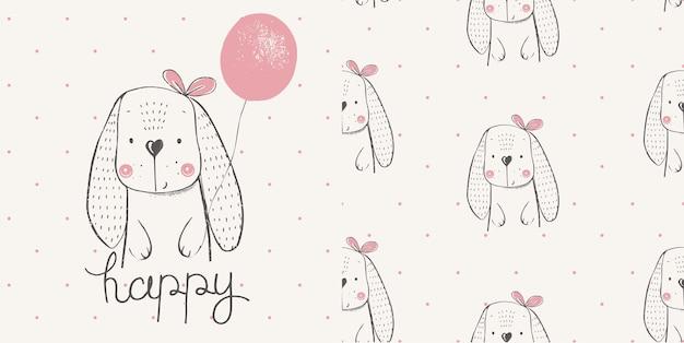Schattig konijn met ballon naadloze patroon cartoon hand getrokken
