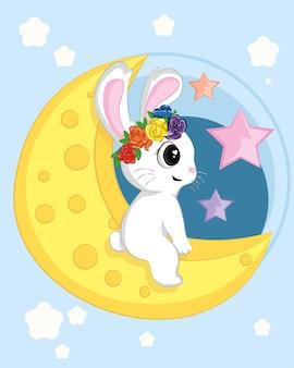 Schattig konijn met de maan in platte vectorstijl