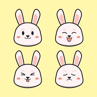 Schattig konijn met expressie dierenset