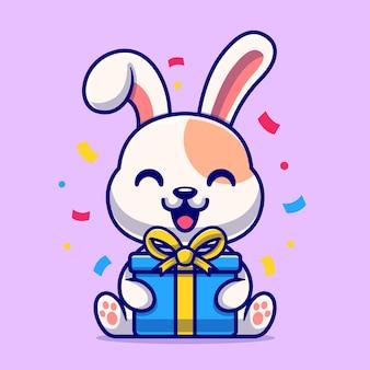 Schattig konijn met geschenkdoos cartoon vectorillustratie pictogram. dierlijke natuur pictogram concept geïsoleerd premium vector. platte cartoonstijl
