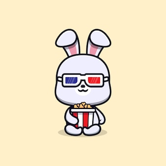 Schattig konijn met popcorn en kijken naar film dier mascotte karakter