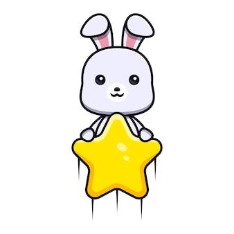 Schattig konijn met ster en vlieg naar het mascottekarakter van het luchtdier