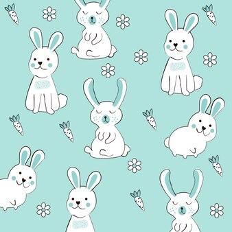 Schattig konijn naadloze patroon