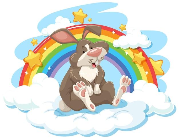 Schattig konijn op de wolk met regenboog