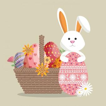 Schattig konijn vrolijk paaskaart