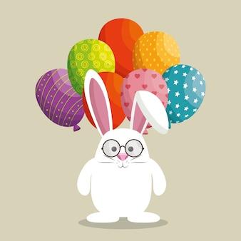 Schattig konijn vrolijk pasen