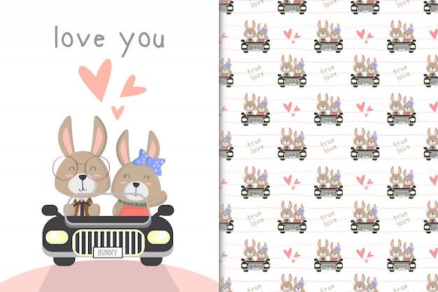 Schattig konijntje besturen van een auto en naadloos patroon
