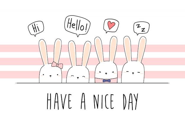 Schattig konijntje cartoon doodle pastel behang