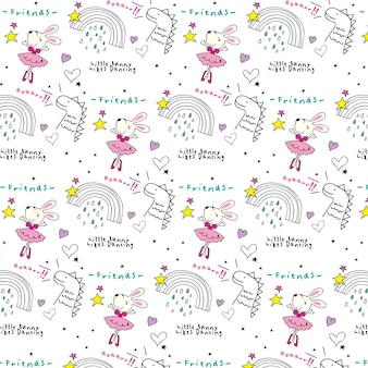 Schattig konijntje doodles patroon
