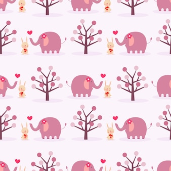 Schattig konijntje en olifant in liefde naadloze patroon.