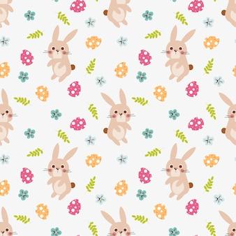 Schattig konijntje en paasei naadloze patroon.